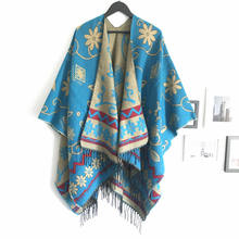 Winter Nepal style sunflower pattern tourism double-sided split big shawl poncho for ladies scarf