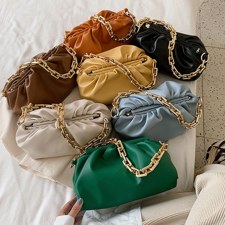 2020 Day clutch pleated underarm pouch women fashion leather handbags shoulder cloud bag with gold chain