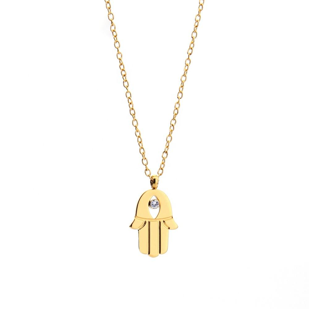 Eye xufu Necklaces & Pendants 16 inch Gold Colored Stainless Steel Chain for Women