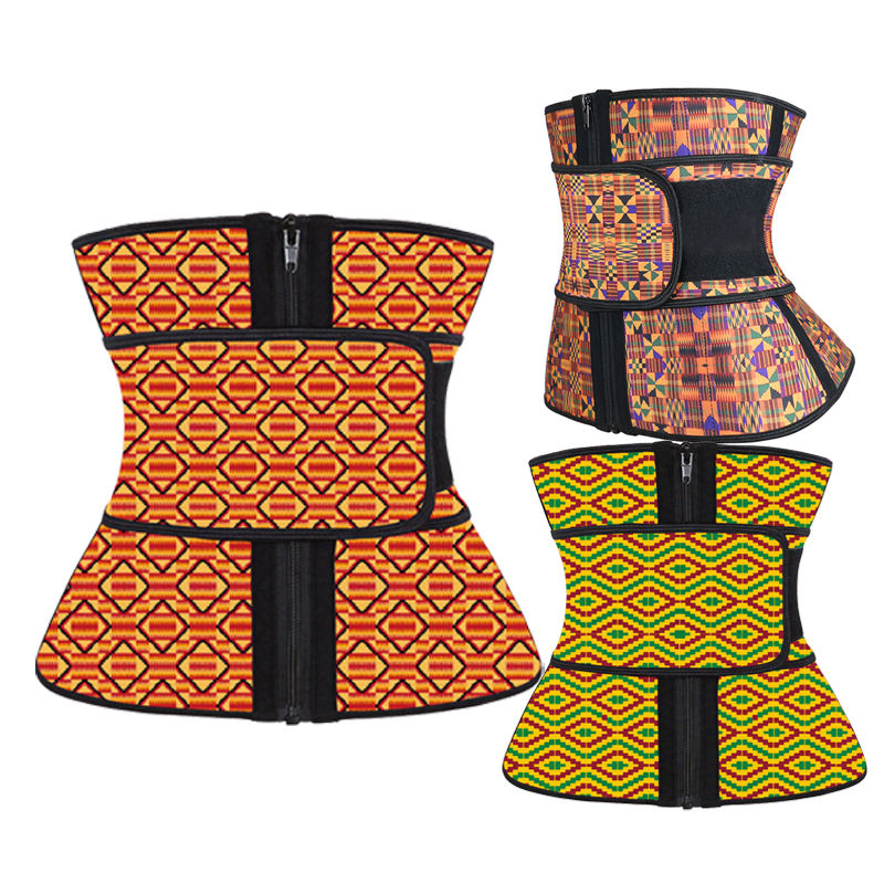 NANBIN 100% Latex New Waist Trainer Kente Waist Cincher African Design Wholesale