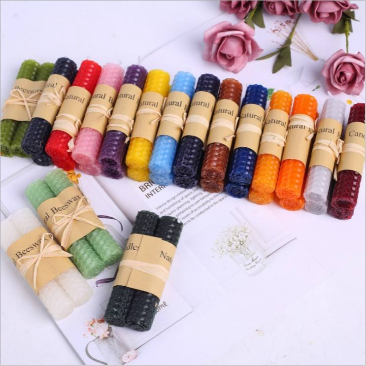 wholesale handmade stick wedding pillar scented beeswax candle/candel 100% pure