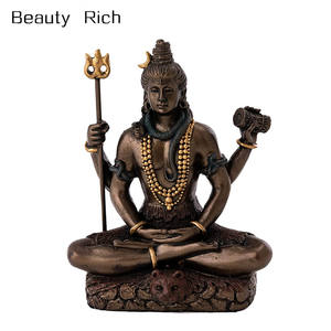polyresin Mini Lord Shiva Statue in Lotus Pose Hindu God and Destroyer of Evil Sculpture in Premium Cold Cast Bronze