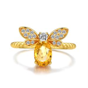 Adjustable 14k Gold Plated 925 Sterling Silver Jewelry Bee Shape Citrine Ring For Women RI019