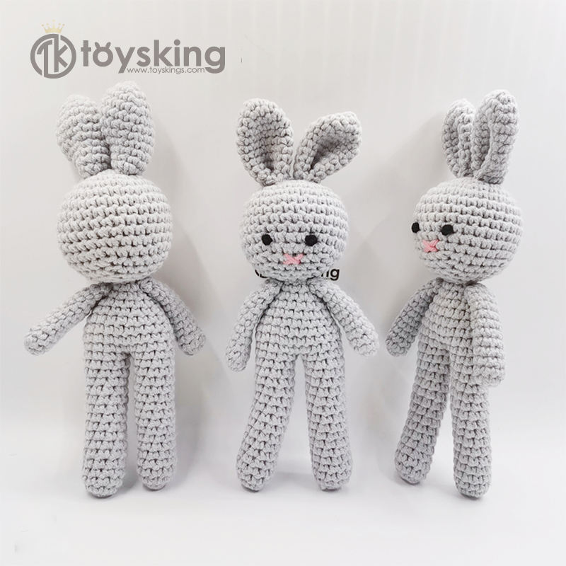 Soft Safe Material Rabbit Handmade Amigurumi Stuffed Toy Knit Crochet Doll Baby Bunny/Bear/Elephant Animal Toy for Baby Kids
