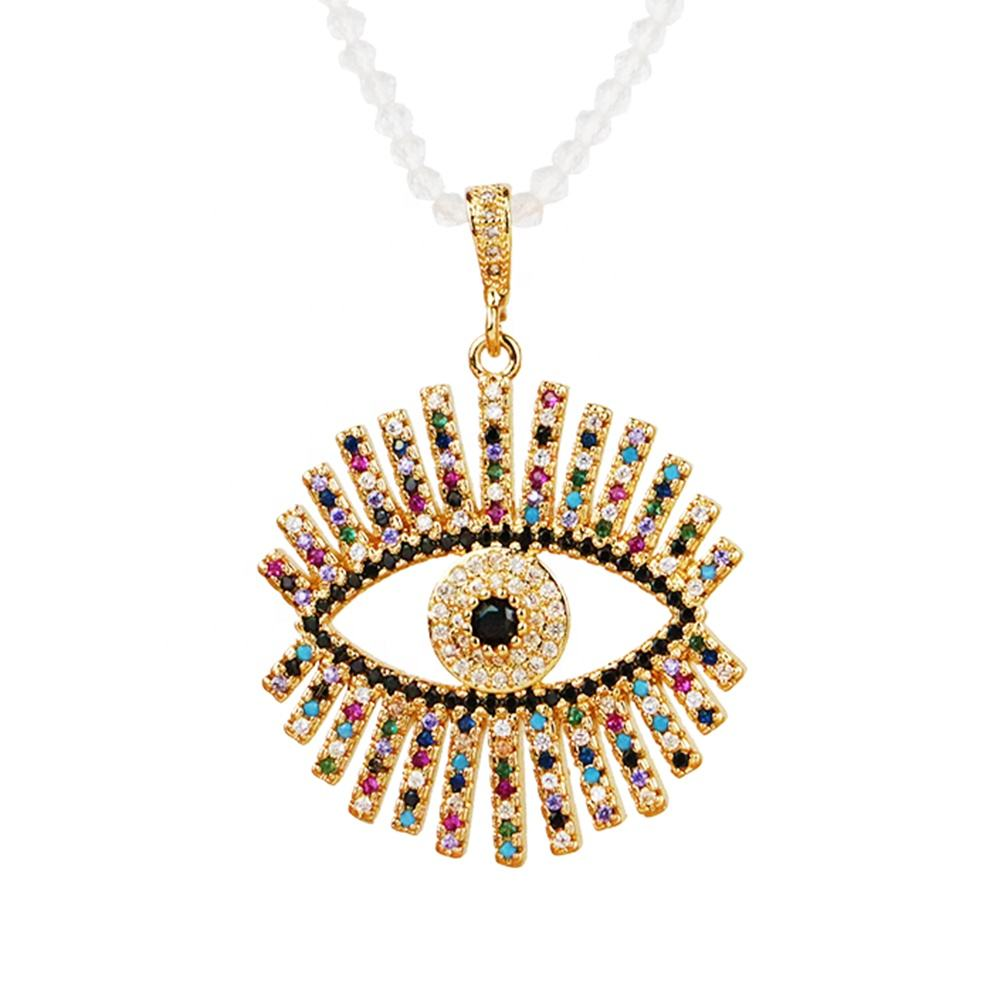 BD-S171 Fashion 4MM Moonstone Short Chain Rhinestone Crysta Eyes Necklace cz pave eyes Necklace