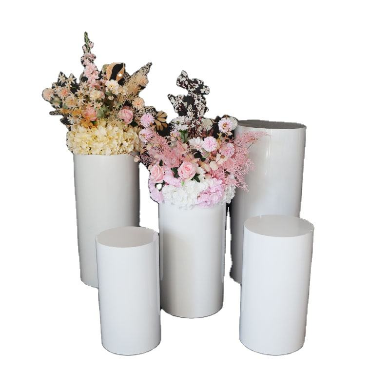 romantic pedestal pink party decorative display stand /metal floor cylinder plinths for cake