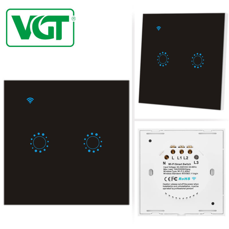 VGT 10A 250V Smart touch switch remote controlled by Ewelink APP Tempered Glass Panel