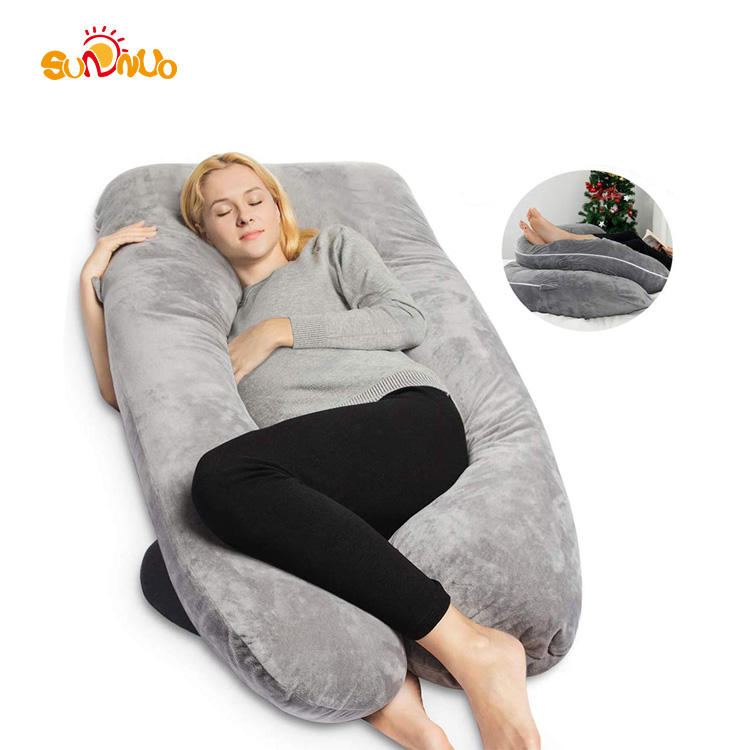 Multi-color U Shaped Body Maternity Pregnancy Pillow With Removable Cotton Cover