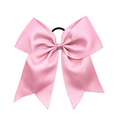 High Quality Kid Girls Solid Color Grosgrain Ribbon Bow Hair Band Fashion Elastic Hair Tie For Girls Ponytail Hold