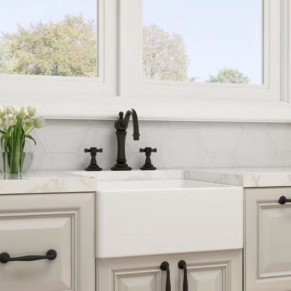 Farmhouse Sink Deep Single Bowl White Ceramic Porcelain Fireclay Apron-Front Kitchen Farm House Sink
