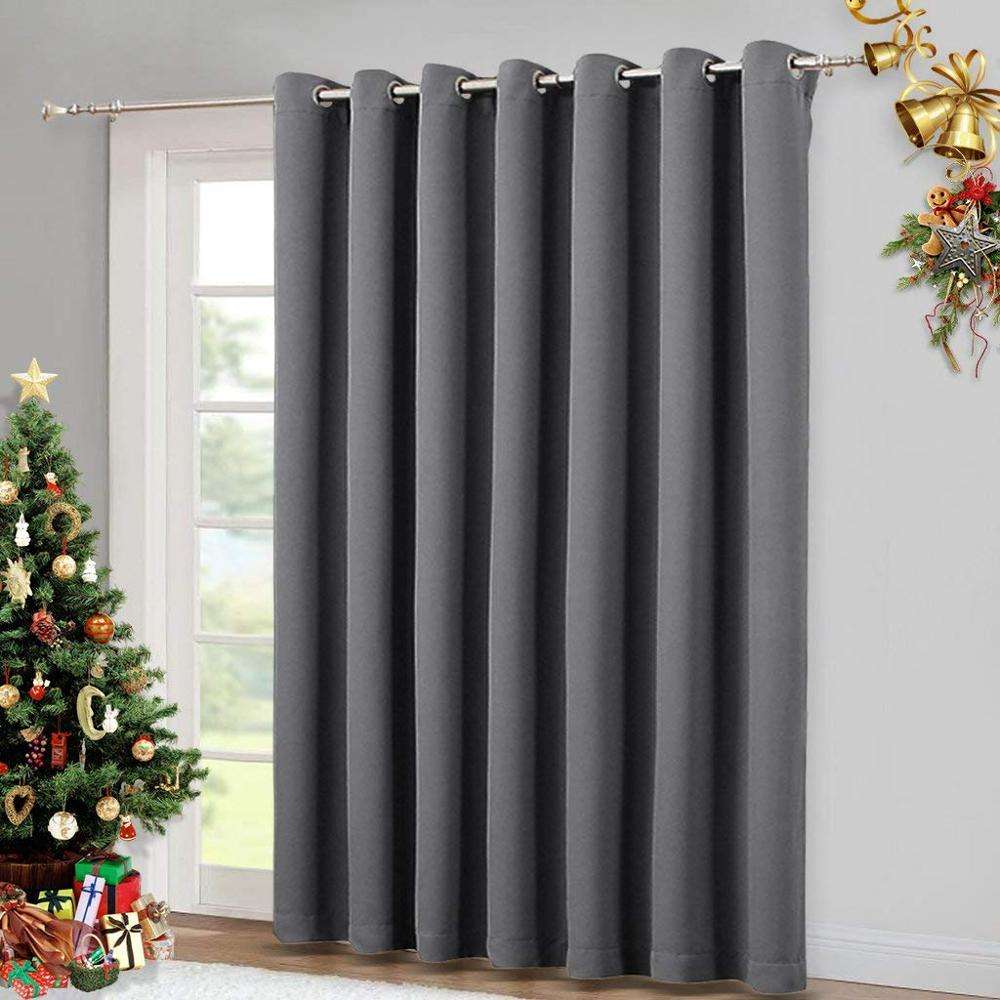 Grey Keep Warm Draperies Sliding Door Curtain Wide Blackout Curtains