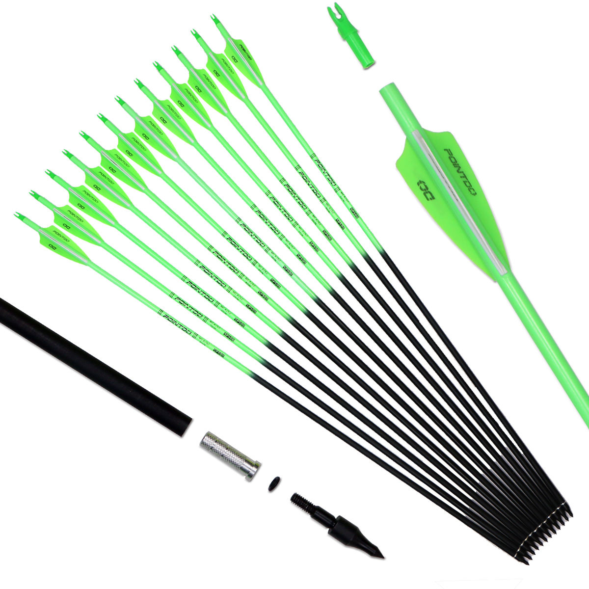 Pointdo 30inch Carbon Arrow Fluorescent Color Target Practice and Hunting Arrow for Compound and Recurve Bow with Removable Tip
