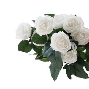Manufacture 2 heads real touch artificial rose flower for home decoration