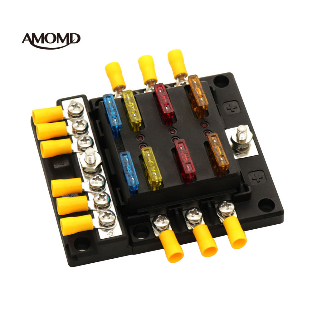 Hot Deal [ Fuse ] Fuse Block AMOMD 6-way Auto Marine Separate Blade Fuse Holder Panel Mount Modular DC Fuse Block Wire Connector Box