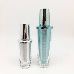 Silver cosmetic acrylic 30ml plastic aluminium pump bottle crystal cosmetic packaging