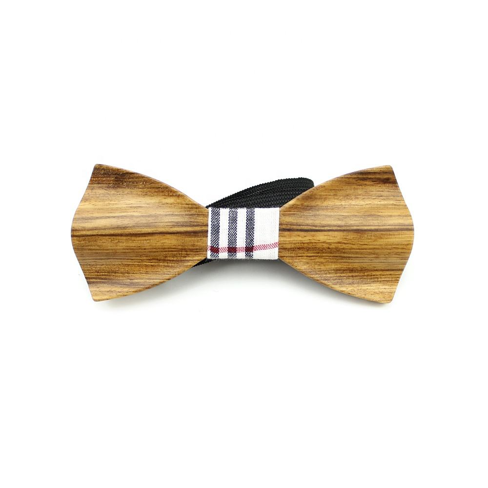Chinese Wholesale Creative Natural Walnut 3D Wood Handcrafted Wooden Pretied Adjustable Eco Friendly Bowtie Men