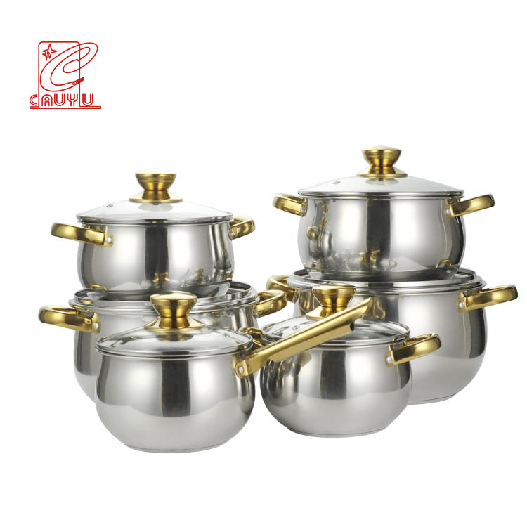 Newest 12pcs Stainless Steel thomas inox cookware set inox cooking pot with gold handle cookware sets