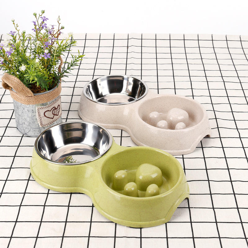Wholesale Bone Shaped Stainless Steel Metal Feeder Double Cat Pet Dog Bowl