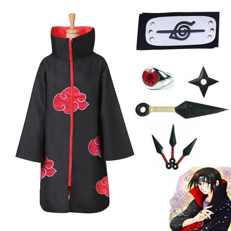 Ecoparty Anime Naruto Akatsuki/Uchiha Itachi Cosplay Halloween Christmas Party Costume Cloak Cape with Headband Necklace Ring