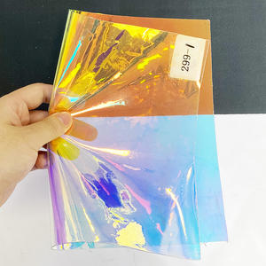 Rainbow ultra-transparent reflective plastic film laser holographic clear pvc soft film for packaging