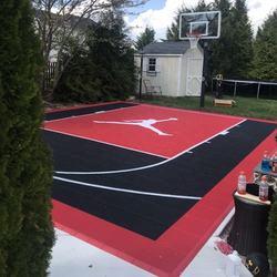 20x25 feet outdoor half court basketball of playground flooring for backyard basketball court