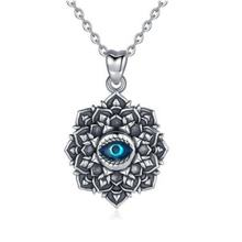 925 sterling silver Devil's Eye necklace lotus collar vintage jewelry ladies birthday party gift pendant