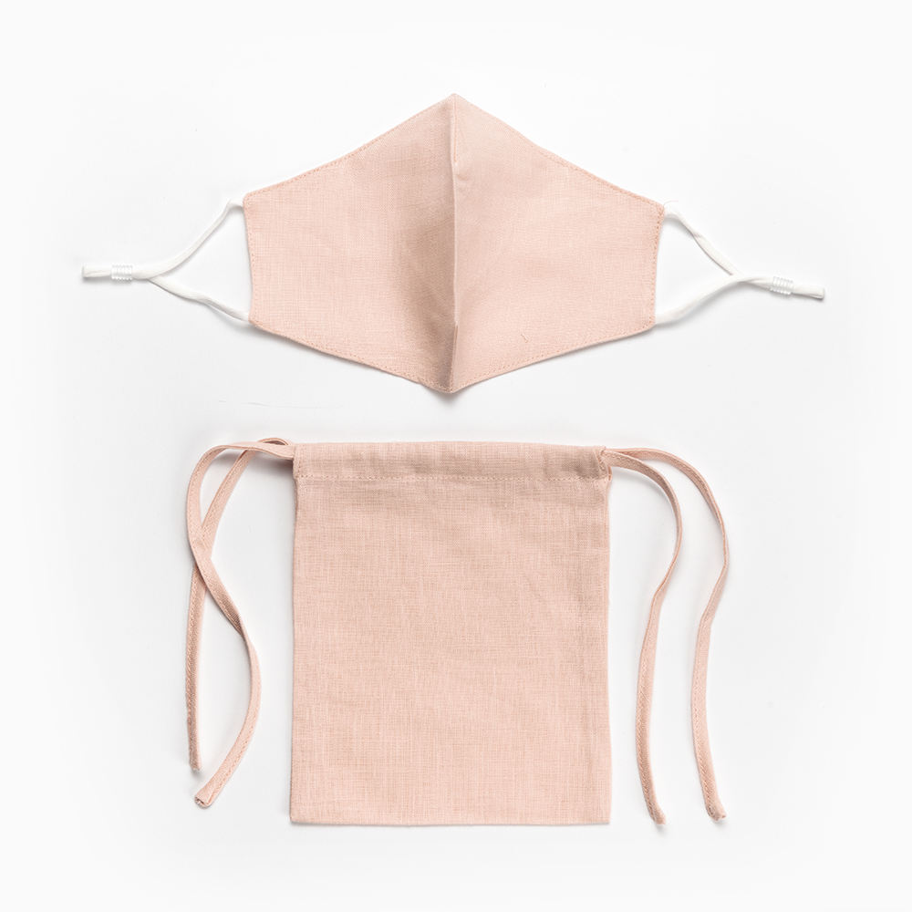 Linen Life Casual Washable Reusable Pink Linen Facemask With Bag
