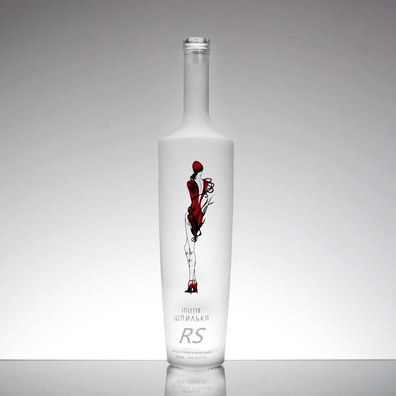 Manufacturer 500ml 750ml 700ml Tall Round Frost Vodka Wine Empty Bulk Glass Bottle with custom Label