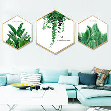 High quality modern simple nordic decorative painting wall decor art green leaf oil painting