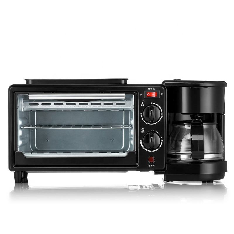 New 3 in 1 Breakfast Maker for Family Use Electric Toaster Oven Black Powder Coating Body Breakfast Maker