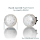 hand carved stud earrings with pearl, pearl flower Morning Glory, natural fresh water pearl earring stud