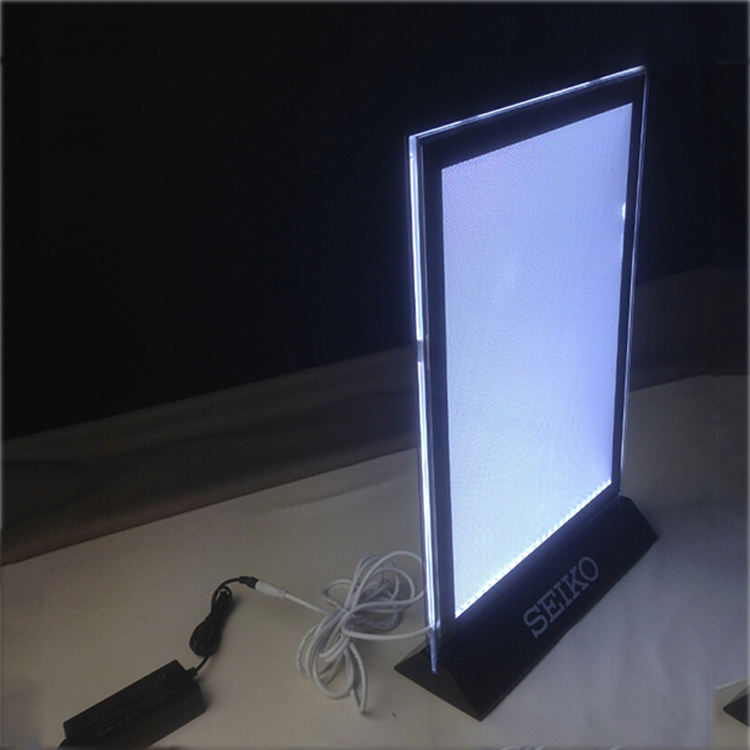 Custom Stand-up Led Backlit Advertising Display Slim A4 Poster Menu Holder Acrylic Light Box
