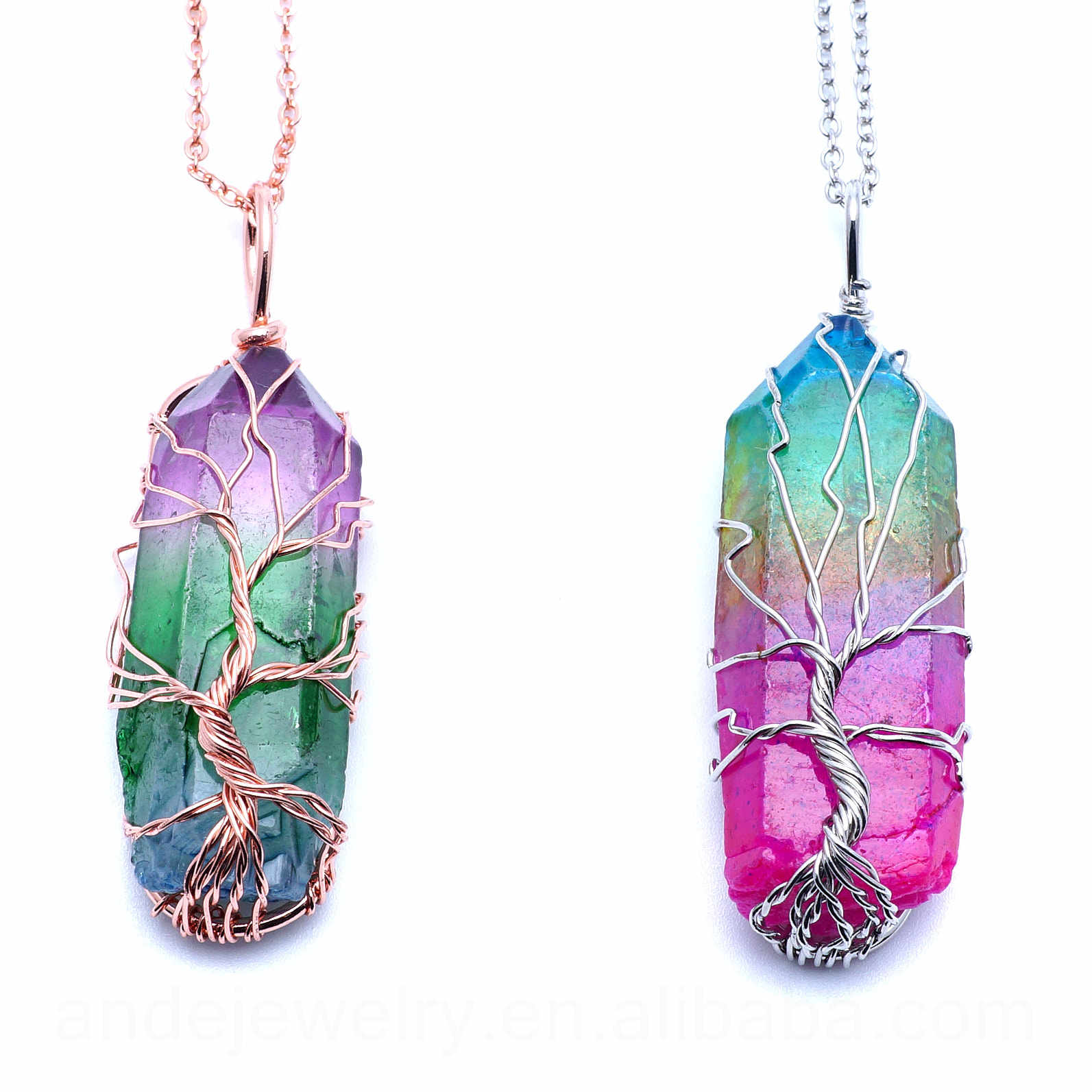 ANDE-P1172 Tree of life necklace Chakra stone wire wrap statement necklace quartz point healing Reiki crystal handmade necklace