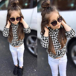 European and American spring and autumn models girls long-sleeved plaid shirt + white trousers two-piece children's clothing