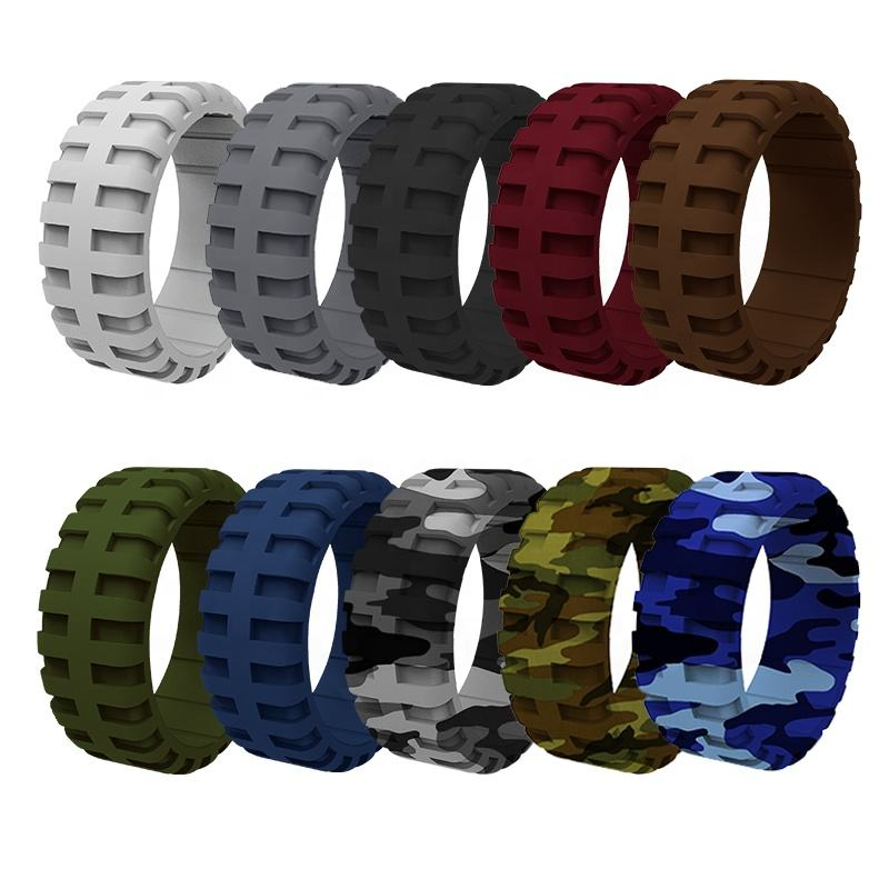 Tire Tread Design Breathable Grooves Rubber Silicone Wedding Ring Wedding Bands for Men