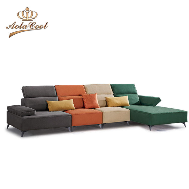 Modern european style multi color L shape fabric sofas set home furniture living room couch