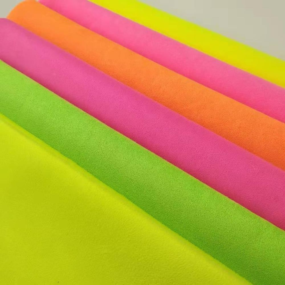 Fluorescent yellow sofa fabric material suede for suede fabric wallpaper/pearl suede necklace