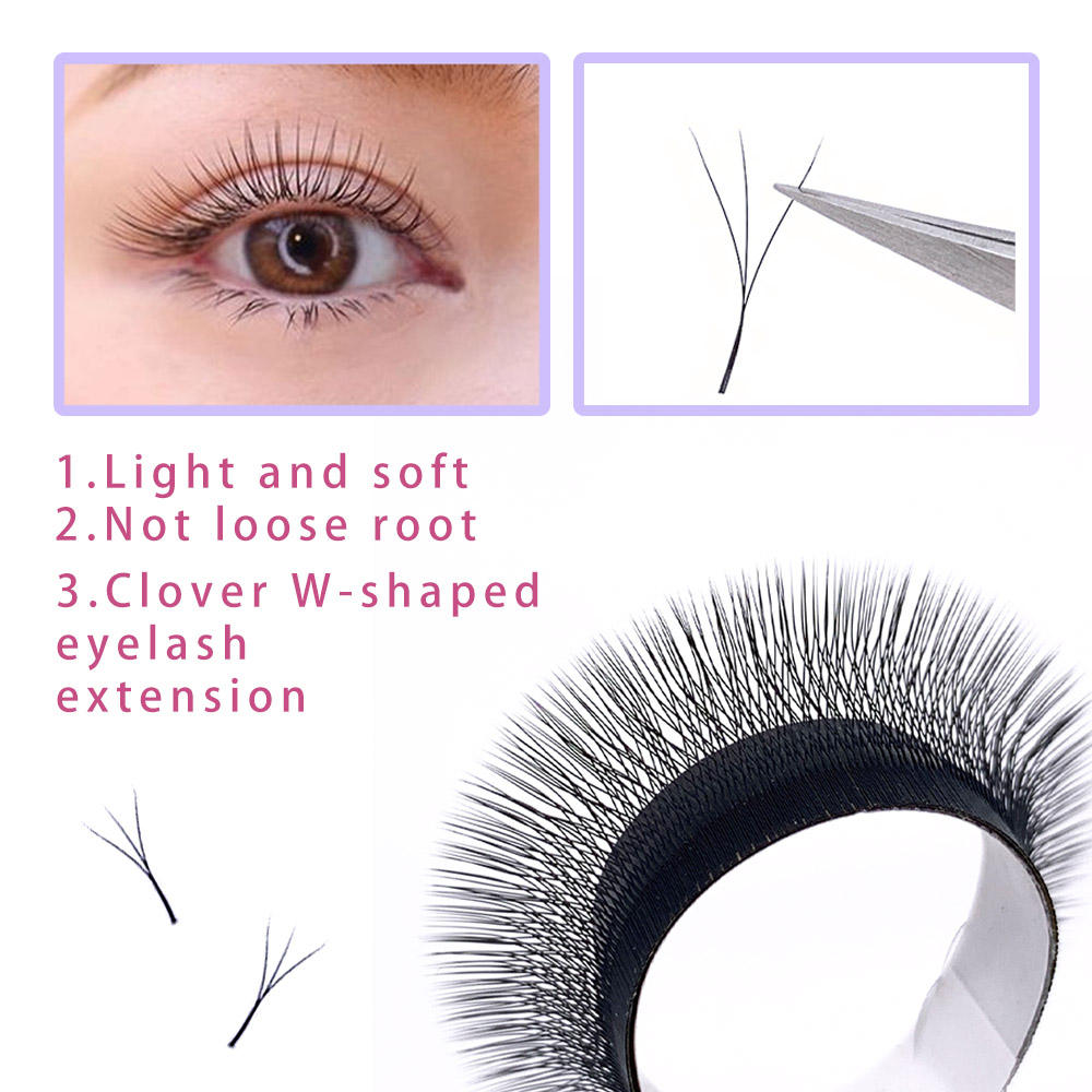 wholesale provide sample 0.05 W shape Lash clover eyelash extensions bushy lashes faux mink eyelashes