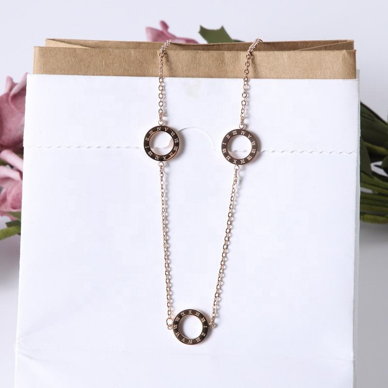 2020 new fashion charm rose gold sweater temperament titanium steel necklace