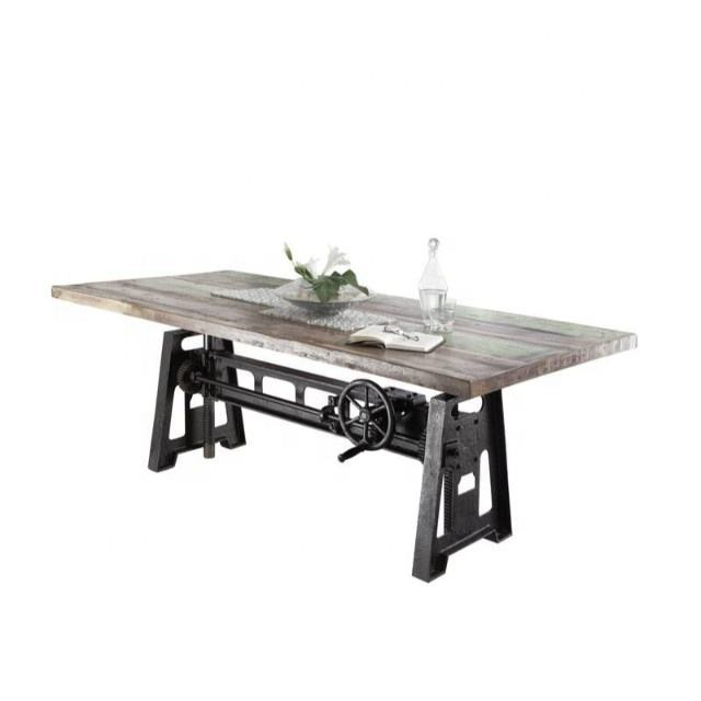 Vintage Industrial Rustic Solid Wood Cast Iron Base Adjustable Dining Table
