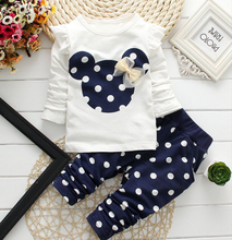 Girls clothing sets Children Clothes Set Cotton Bow Tops T shirt Leggings Pants Baby Kids 2 Pcs Suit Costume For 0-4 Year