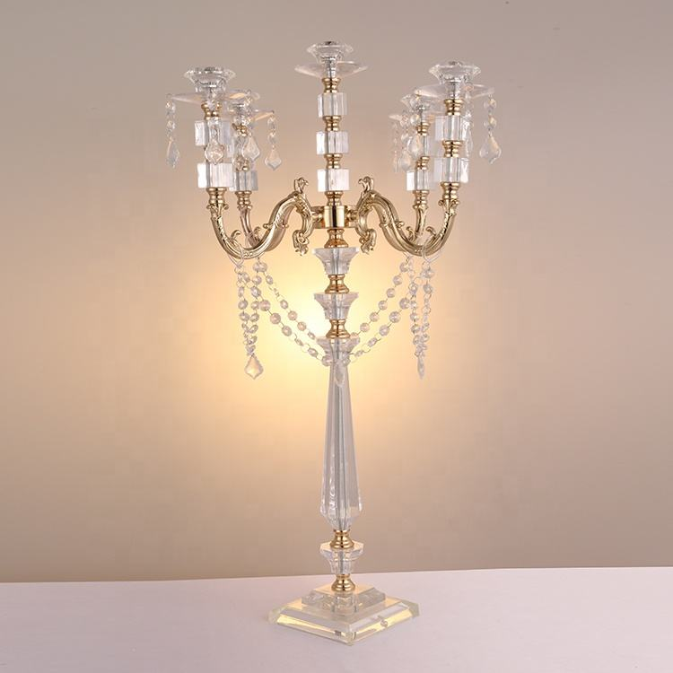 5 Arm Acrylic Candelabra For Vase Wedding Decoration Centerpieces