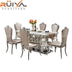 Foshan Furniture customized elegant style large marble top stainless steel dining room table for 8 chairs
