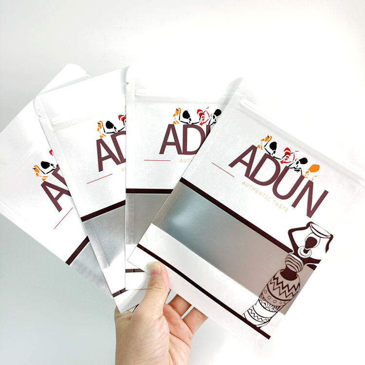 Printed Aluminum Foil White Zipper kraft paper stand up pouches Food Packaging Bag