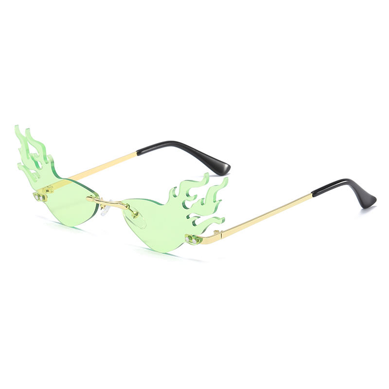 THREE HIPPOS 2020 New Arrivals Flame Shaped Sunglasses Rimless Shades Women Ocean lenses weird Party Sun Glasses
