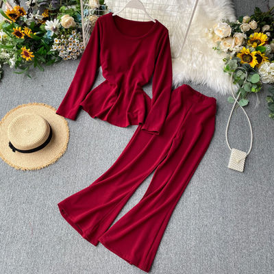2020 Fashion pure color long sleeve tops flared trousers women two piece set clothing