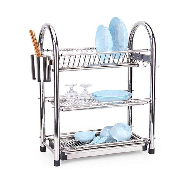 Fancy design silver 3 tiers stainless steel utensil drainer dish rack for kitchen