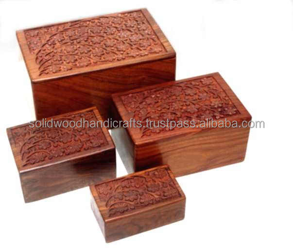 WHOLESALE WOODEN HANDICRAFTS WOODEN PET ASH CREMATION URNS