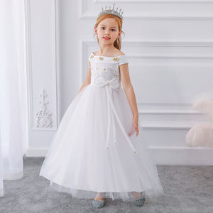 Kids Flower Girls Party Wear Frocks Birthday Dress For Girl Baby Maxi Ball Gowns Children Sleeveless Bow Long Dresses LP-232