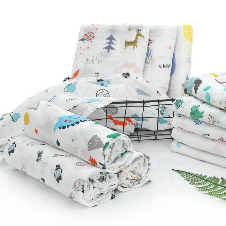 ready stock designs infant printed cover 2 layers baby wrap cotton 100% fabric cloth newborn receiving muslin swaddle blankets